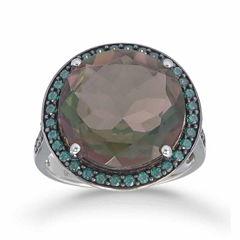 Womens Genuine Black Quartz Sterling Silver Halo Ring