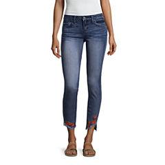 Rampage Rose Embroidered Fray Hem Skinny Jeans-Juniors