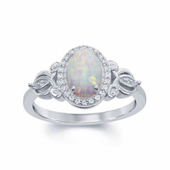 Enchanted Fine Jewelry By Disney Enchanted By Disney Womens 1/10 CT. T.W. Lab Created Opal Sterling Silver Cocktail Ring