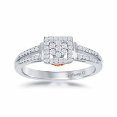 Enchanted by Disney 1/4 C.T. T.W. Diamond 10K White & Rose Gold