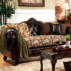Lucretia Traditional Fabric Roll-Arm Sofa