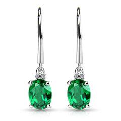 Diamond Accent Green Emerald Sterling Silver Drop Earrings