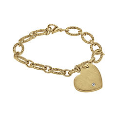 Personalized 7 1/2 Inch Cubic Zirconia Stainless Steel Chain Bracelet