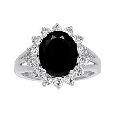 Oval Genuine Black Onyx and Lab-Created White Sapphire Ring