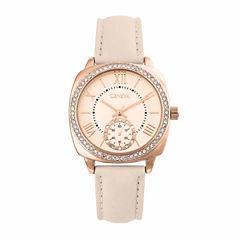 Geneva Womens Rose Goldtone Strap Watch-Pt2517rgbg