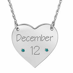 Personalized Birthstone Date Heart Necklace