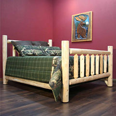Cedar Log Low Post Bed