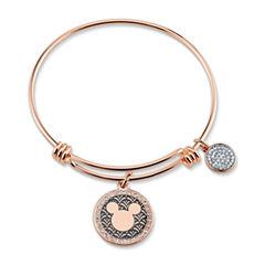 Disney Womens Clear Silver Over Brass Bangle Bracelet