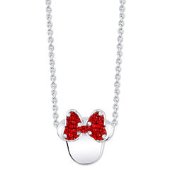 Disney Womens Red Silver Over Brass Pendant Necklace