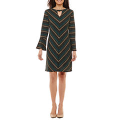 Studio 1 3/4 Sleeve Stripe Shift Dress-Petites