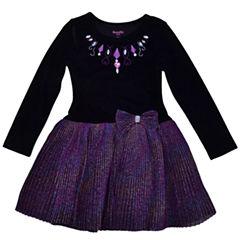 NanetteLong Sleeve Drop Waist Dress - Toddler Girls
