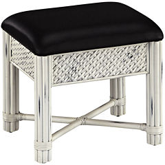 Lucia Wicker Upholstered Vanity Bench