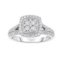 TruMiracle® 1/4 CT. T.W. Diamond Sterling Silver Square Ring