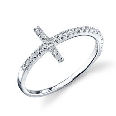 Footnotes Womens White Cubic Zirconia Sterling Silver Delicate Ring