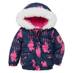 US Polo Assn. Heavyweight Logo Puffer Jacket - Girls-Baby