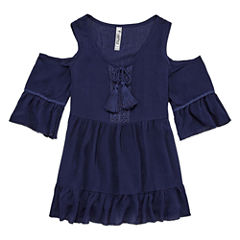 Beautees Cold Shoulder Tiered Top -  Girls' 7-16