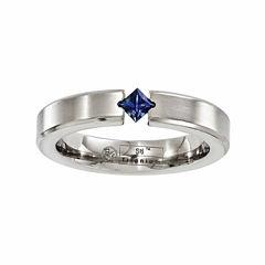 Edward Mirell Mens Genuine Blue Sapphire Titanium Wedding Band