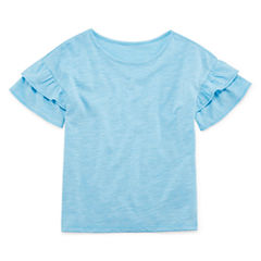 Okie Dokie Short Sleeve Crew Neck T-Shirt-Toddler Girls