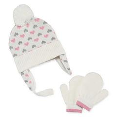 Weatherproof Peruvian Chin Strap Pom 3-pc. Cold Weather Set-Baby Girls