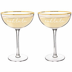 Cathy's Concepts Ooh La La 8 oz. Gold Rim Coupe Flutes