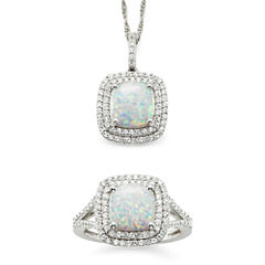 Lab-Created Opal & Lab-Created White Sapphire Sterling Silver 2-pc. Boxed Jewelry Set