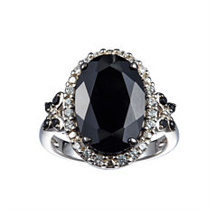 Womens Black Spinel Sterling Silver Side Stone Ring