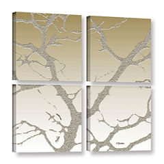 Brushstone Morning Light On Tree 4-pc. Square Gallery Wrapped Canvas Wall Art