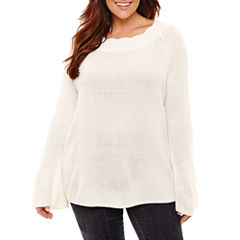 Liz Claiborne Scalloped Bell Sleeve Sweater- Plus