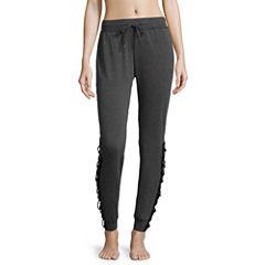 Flirtitude Lace Up Fleece Jogger Pants - Juniors