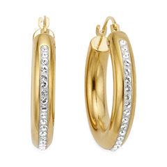 Gold Opulence 14K Gold Over Diamond Resin Round Crystal Hoop Earrings