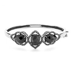 Marcasite and Onyx Sterling Silver Bangle