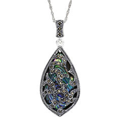 Marcasite and Abalone Shell Sterling Silver Teardrop Pendant Necklace