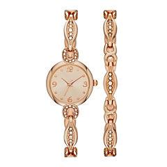 Womens Crystal Dainty Glitz Watch and Bracelet Set