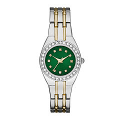 Womens Crystal-Accent Green Dial Two-Tone Bracelet Watch