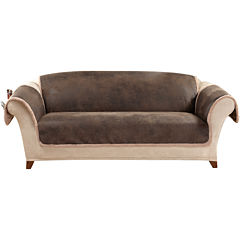 SURE FIT® Vintage Faux-Leather Reversible Pet-Friendly Sofa Slipcover