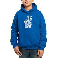 Los Angeles Pop Art CreatedUsing Words Give Peace A Chance Hoodie-Big Kid Boys