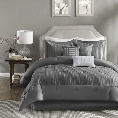 madison park curtis pleated 7pc comforter set - California King Bedding Sets