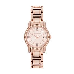 Liz Claiborne® Womens Rose Gold-Tone Bracelet Watch
