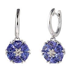 Purple Tanzanite Sterling Silver Drop Earrings
