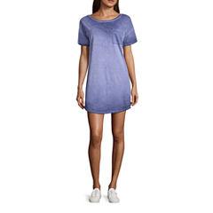 Arizona Short Sleeve Cut Outs Swing Dresses-Juniors