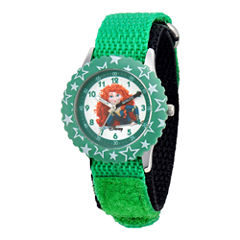 Disney Kids Merida Time Teacher Kids Stainless Steel Green Strap Watch