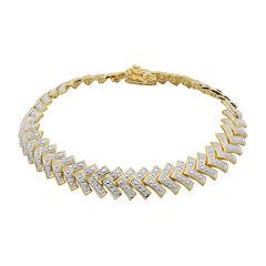 Diamond-Accent 18K Gold Over Brass Chevron Bracelet
