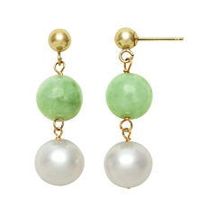 14K Yellow Gold Cultured Freshwater Pearl & Dyed Green Jade Drop Earrings