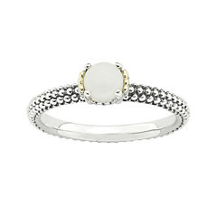 Personally Stackable Genuine White Agate Two-Tone Ring