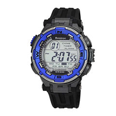 Armitron® Pro-Sport Mens Black Resin Strap Chronograph Sport Watch 40/8301BLUJ