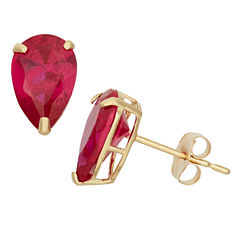 Pear Red Ruby 10K Gold Stud Earrings