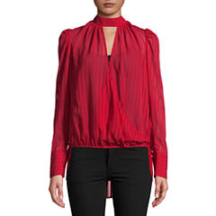 Bisou Bisou Long Sleeve High Low Surplice Top
