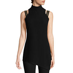 Bisou Bisou Jeweled Strap Mock Neck Top