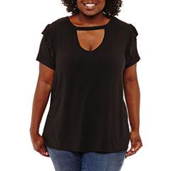 Boutique + Short Sleeve Keyhole Neck T-Shirt-Womens Plus
