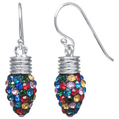 Sparkle Allure Multi Color Silver Over Brass Drop Earrings